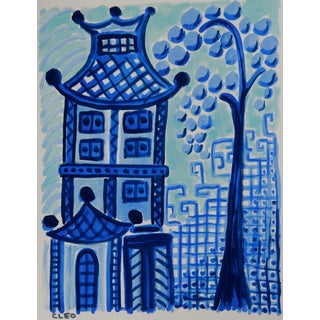 Blue Willow Inspired Landscape Paintig by Cleo For Sale
