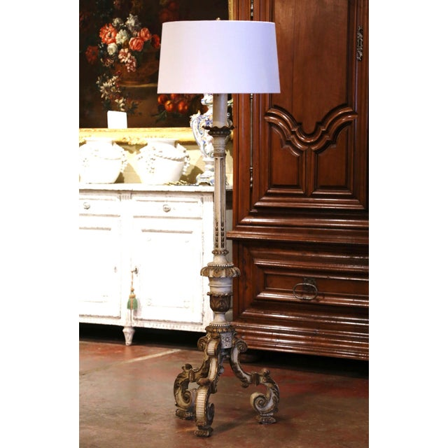 19th Century Italian Carved Polychrome and Painted Floor Lamp on Tripod Base For Sale - Image 13 of 13