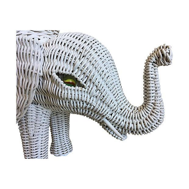 Asian Hanson Wicker Elephant Lamp & Shade For Sale - Image 3 of 8