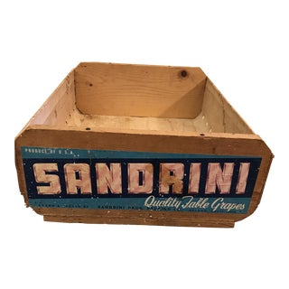 Vintage Sandrini Grape Wooden Crate For Sale