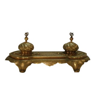 Stunning Turkish Brass Double Inkwell For Sale
