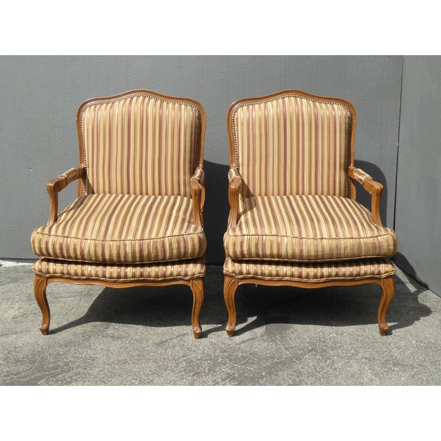Pair of vintage French country brown stripped accent chairs with down cushions. Gorgeous chairs in great vintage...