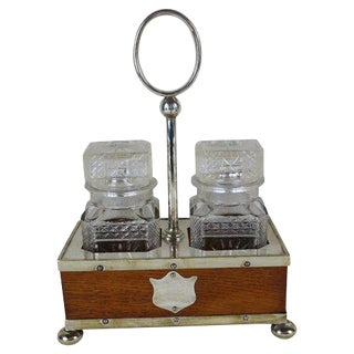 English Oak & Sheffield Caster Set For Sale