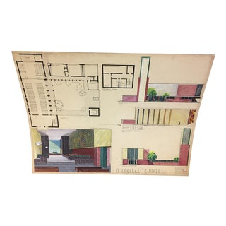 Mid-Century Modern Design Architectural Drawing For Sale