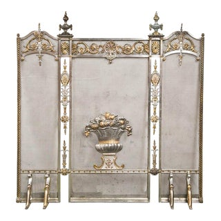 Edwardian Bronze Fireplace Screen For Sale
