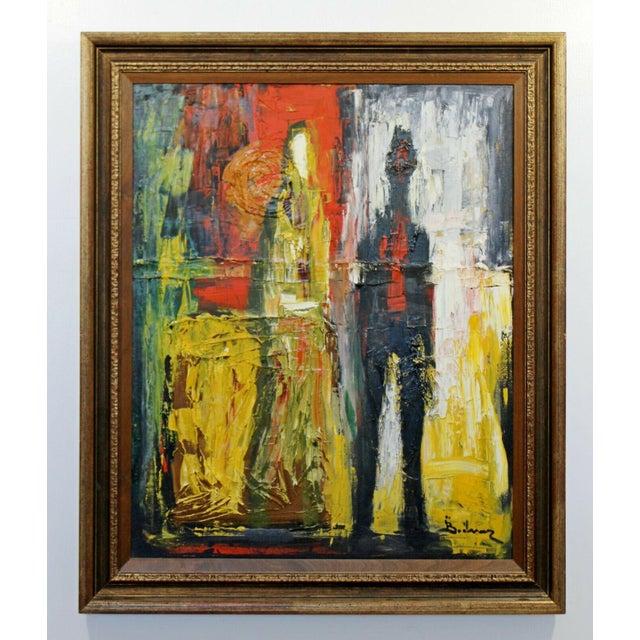 Mid Century Modern Framed Oil Pallet Knife Canvas Painting Signed Bochraz For Sale - Image 9 of 9