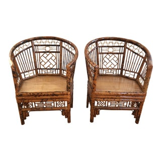 Vintage Chinoiserie Chippendale Brighton Pavilion Burnt Bamboo Armchairs - a Pair For Sale