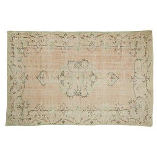 "Vintage Distressed Oushak Carpet - 5'6"" X 8'3"" For Sale"