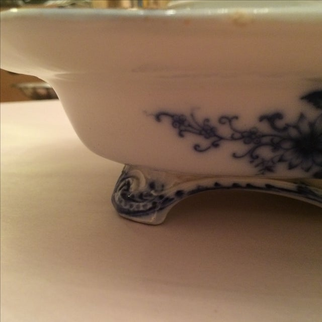 """Flow Blue 12"""" Footed Serving Dish - Image 5 of 10"""