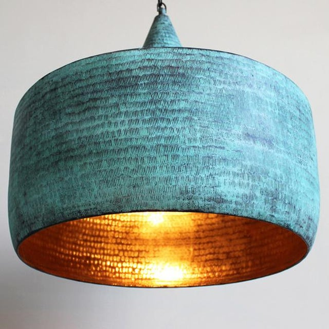Contemporary Green Copper Hammered Hat Lantern For Sale - Image 3 of 4