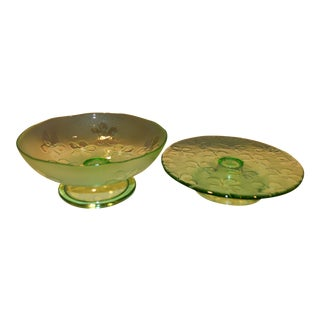 Shamrock Glass Serving Set For Sale