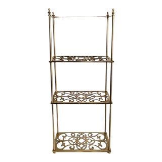 Vintage Peerage Brass Freestanding 3-Tier Shelf