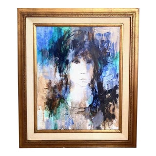 Mid Century Oil on Canvas - Abstract Child, Signed and Framed For Sale