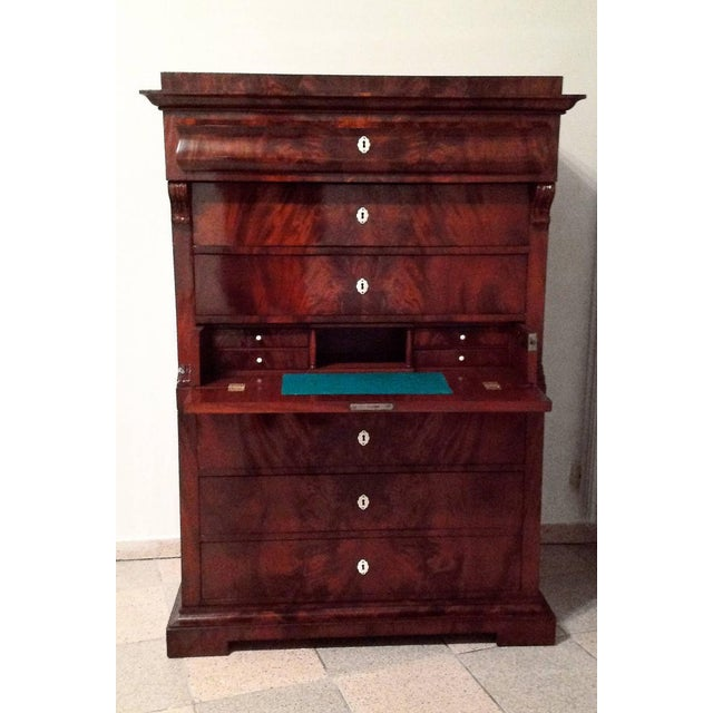 Brown Antique Biedermeier chiffonier For Sale - Image 8 of 9