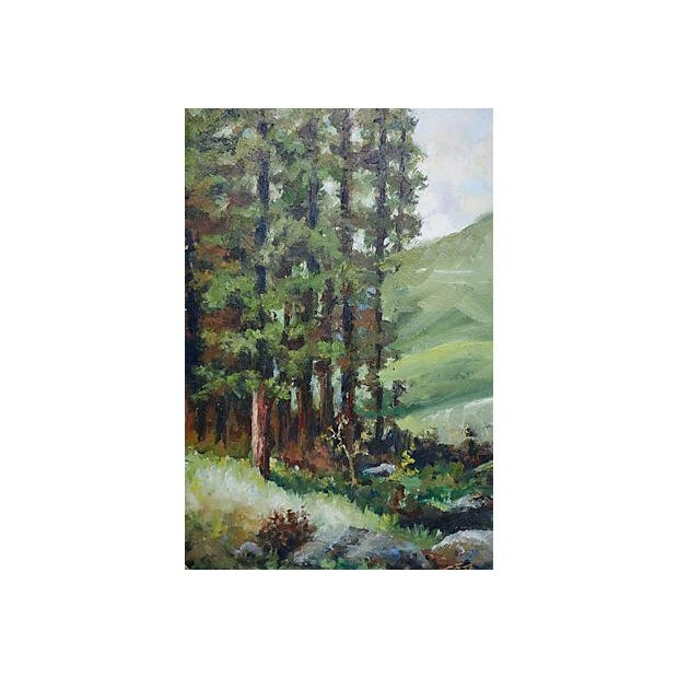 Painting of a River with Green Hills & Trees - Image 2 of 4
