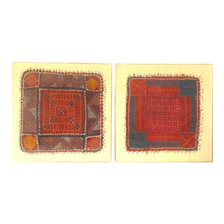 Framed African Textile Art - a Pair For Sale