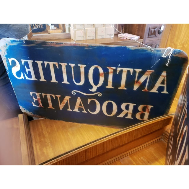 2 Sided French Antiques Shop Sign For Sale - Image 4 of 9
