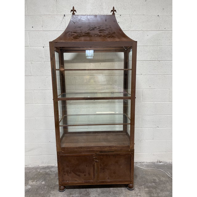 Pagoda Style Rustic Glass Metal Display Case For Sale - Image 13 of 13