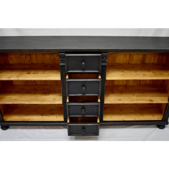 Paint Long Country Pine Bookcase With Four Drawers For Sale - Image 7 of 13