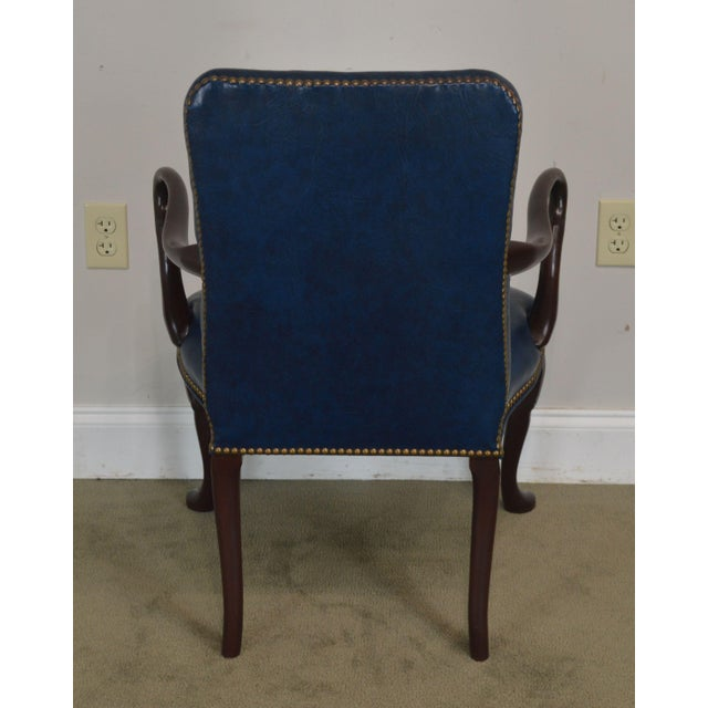 Queen Anne Style Vintage Custom Quality Mahogany Pair Shepherd's Crook Armchairs (C) For Sale In Philadelphia - Image 6 of 12