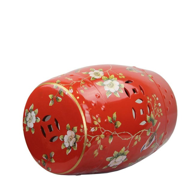 This listing is for a classic red garden stool. This piece features a floral motif. From Pasargad's Stool Collection.