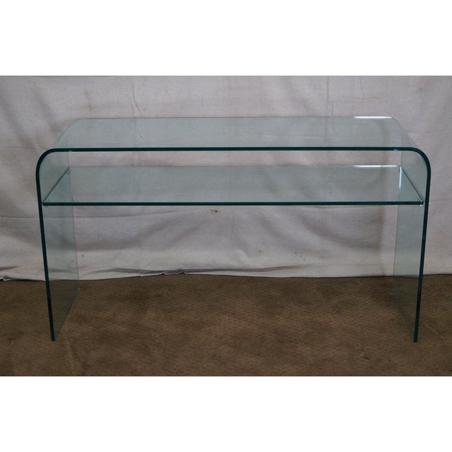Mid-Century Modern Curved Glass Console Table For Sale - Image 4 of 10