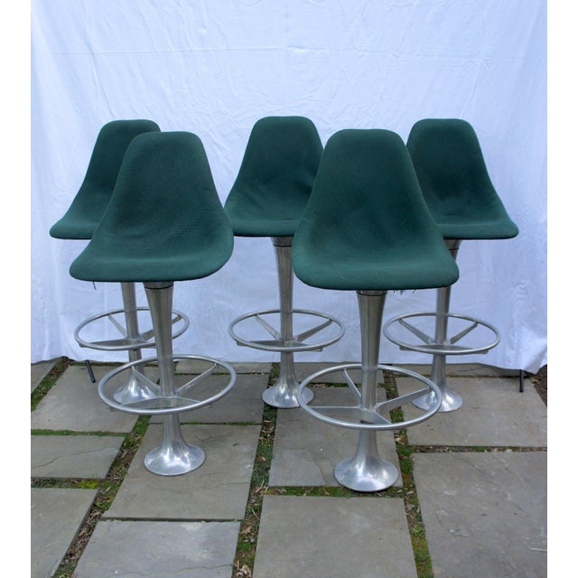 Mid-Century Modern Green Floor Anchored Bar Stools - Set of 5 For Sale - Image 12 of 12