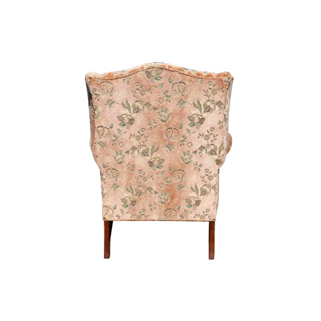 Mid 20th Century Floral Wingback Chairs in Blush - a Pair For Sale - Image 5 of 8