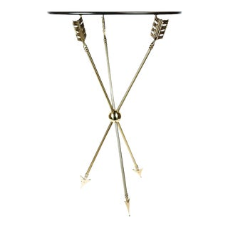 Maison Jansen MCM Neoclassical Hollywood Regency Brass Arrow Directoire Accent Table For Sale