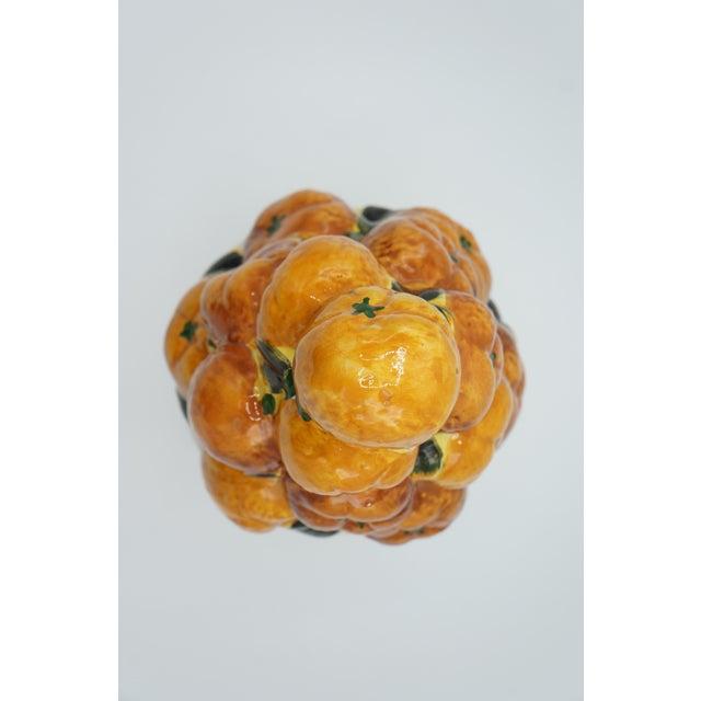 Majolica Italian Ceramic Fruit Topiary Basket of Oranges For Sale - Image 4 of 8