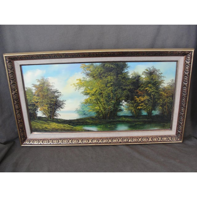 Mid Century Oil on Board Landscape Painting by Paul Chen This is a beautiful oil painting on canvasboard of a marshy...