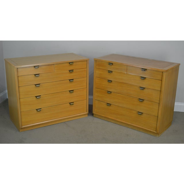 High Quality American Made Vintage Pair of Blonde Wood Chests with Dovetailed Drawers Designed by Edward Wormley for Drexel
