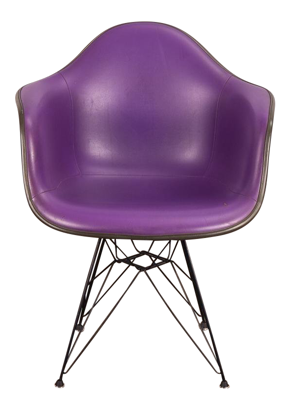 Purple Eames Padded Armshell Chair On Black Eiffel Base For Herman Miller  For Sale