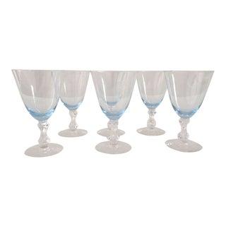 Vintage Ice Blue & Clear Glasses - Set of 6