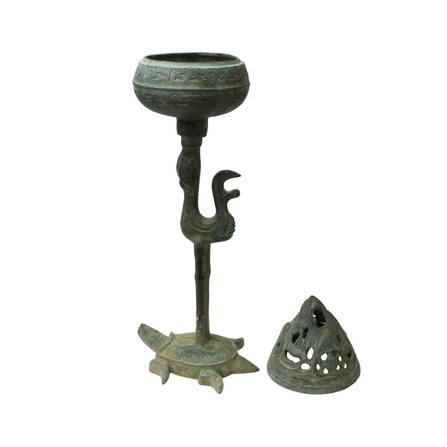 2010s Chinese Oriental Green Bronze-Ware Incense Holder Home Decor Display For Sale - Image 5 of 7