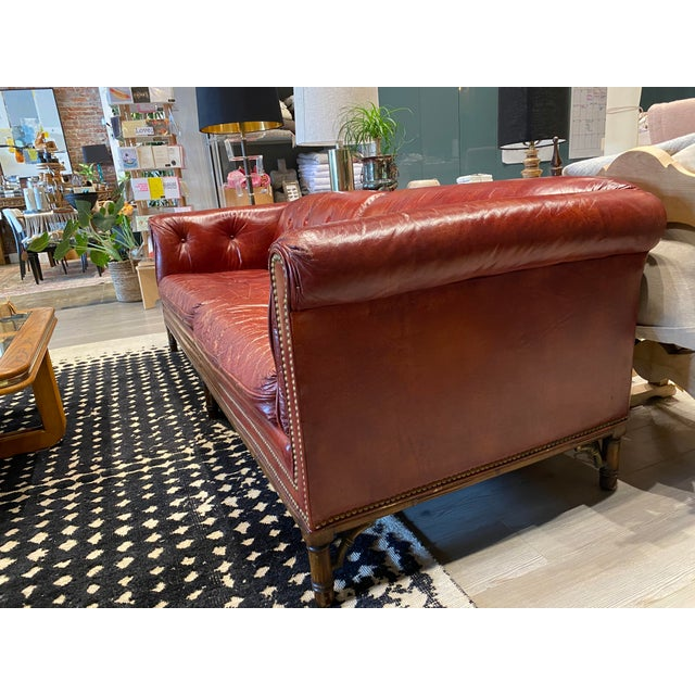 Brick Red Vintage Tufted Leather Chesterfield Sofa For Sale - Image 8 of 12
