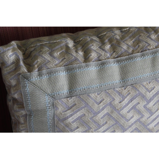 """Silk """"Greek Key"""" Down Pillows in Beige/Taupe With Light Green Embroidered Trim - a Pair For Sale - Image 10 of 13"""