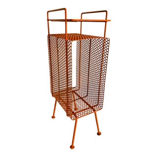 Richard Galef Mid Century Modern Orange Perforated Wire Telephone Magazine Stand Side Table For Sale