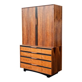 John Kapel for Glenn of California Walnut Gentlemen's Chest Armoire For Sale