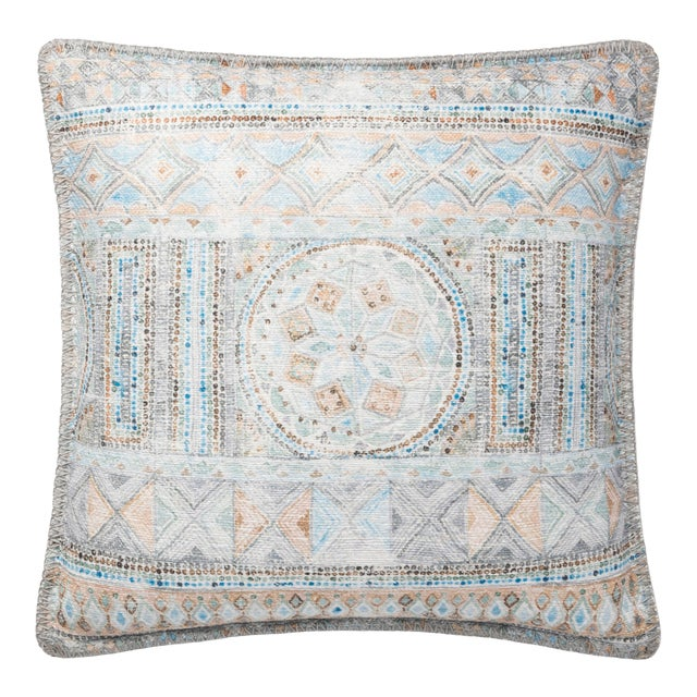 """Justina Blakeney X Loloi Blue / Multi 18"""" X 18"""" Cover with Down Pillow For Sale"""