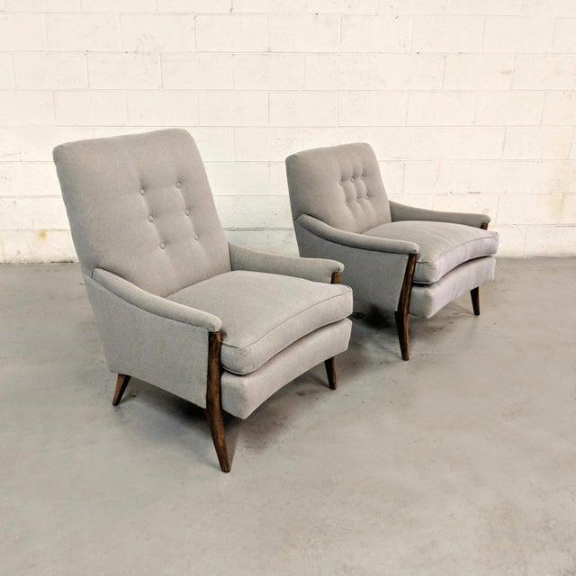 Danish Modern Restored Kroehler Mid-Century Modern Gray Wool Walnut Lounge Chairs - a Pair For Sale - Image 3 of 13
