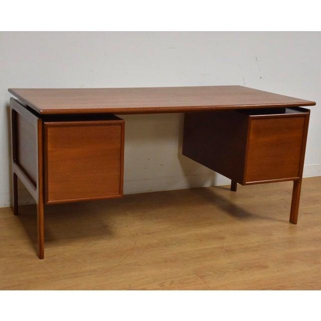 Danish Modern Teak Executive Desk by g.v. Gasvig For Sale - Image 10 of 11