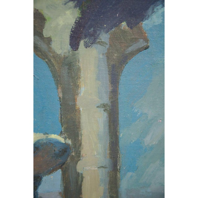 Late 19th Century Late 19th Century Antique Classical Courtyard Signed Oil on Cardboard Painting For Sale - Image 5 of 8