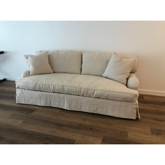 Lee Industries Down FIlled Belgain Linen Sofa For Sale - Image 11 of 13