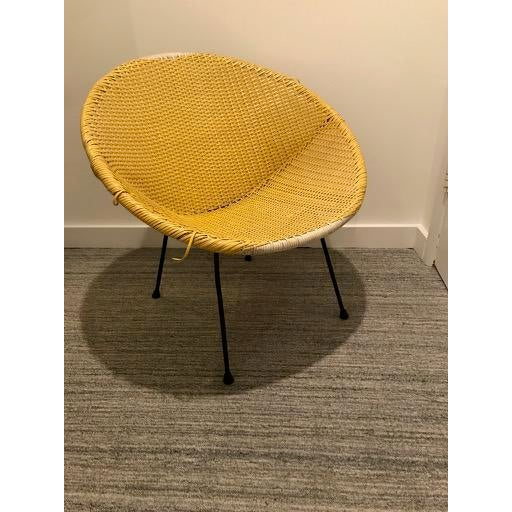 Vintage Mid-Century Atomic Vinyl Yellow Basket Chair For Sale - Image 13 of 13