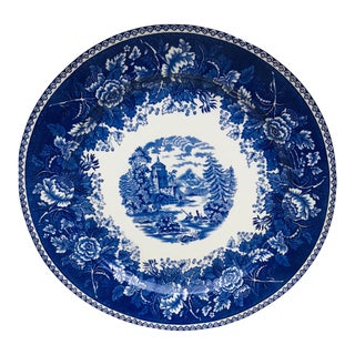 Mid Century Blue and White European Porcelain Charger For Sale