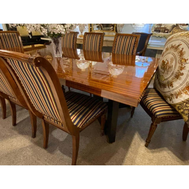 Lorin Marsh Dining Conference Table Smorgasbord Lacquered Zebra-Wood and Brass For Sale - Image 4 of 12