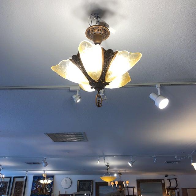 Vintage Mid-Century Art Deco Style Pentagonal Pendant Light For Sale - Image 11 of 13