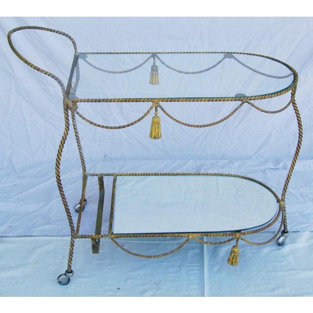Mid-Century Modern 1950s Vintage Italian Bar & Beverage Liquor Tea Party Cart For Sale - Image 3 of 12
