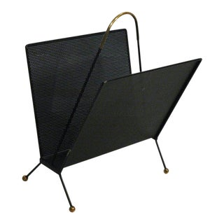 Modernist Mid Century Pierced Metal Magazine Rack with Brass Accents